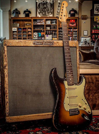 Fender Stratocaster guitar and Fender Bassman amp. Both worn and used. Finest example between allVintage Guitars