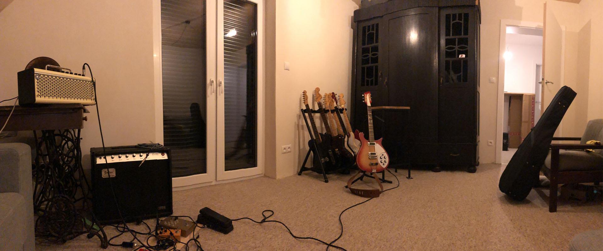 The PolishedGuitars.com store interior. Store with vintage guitars