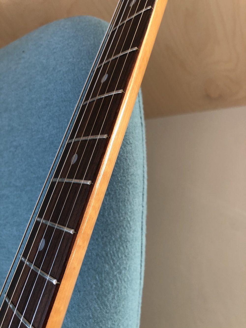Photo contains vintage Japanese guitar: Fernandes FST Stratocaster